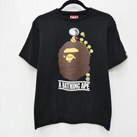 【中古】A BATHING APE アベイシングエイプ 'FLYING ACE ON COLLEGE TEE' x PEANUTS:14SS Tシャツ半袖 サイズ:S カラー:ブラック / ストリート【f103】