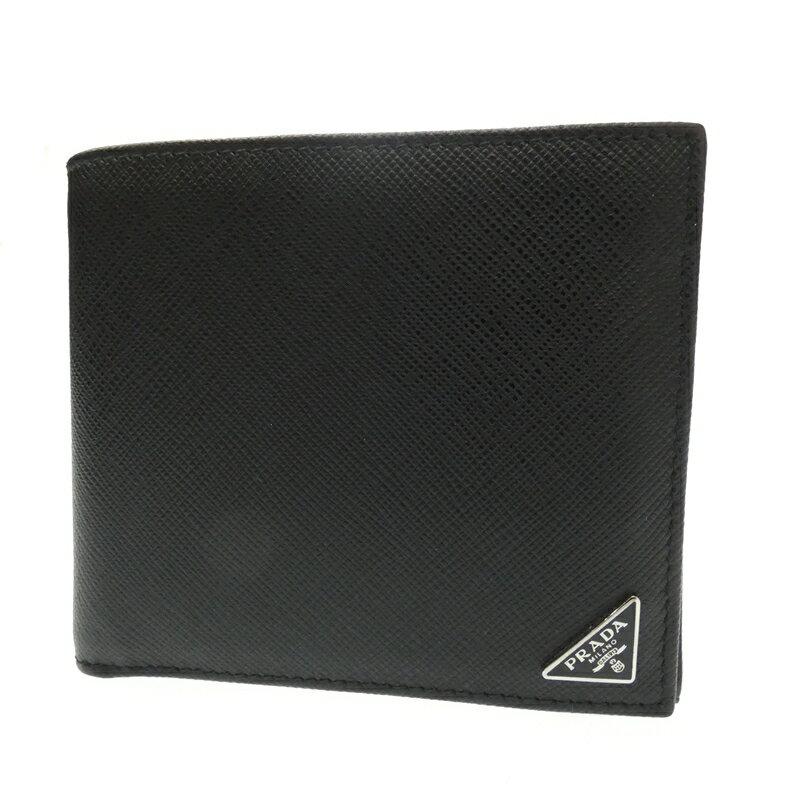 【中古】PRADA/プラダ 二つ折り財布 サイズ:- カラー:ブラック【f125】