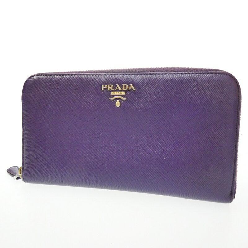 【中古】PRADA/プラダ ラウンドファスナー長財布 サイズ:- カラー:パープル【f125】
