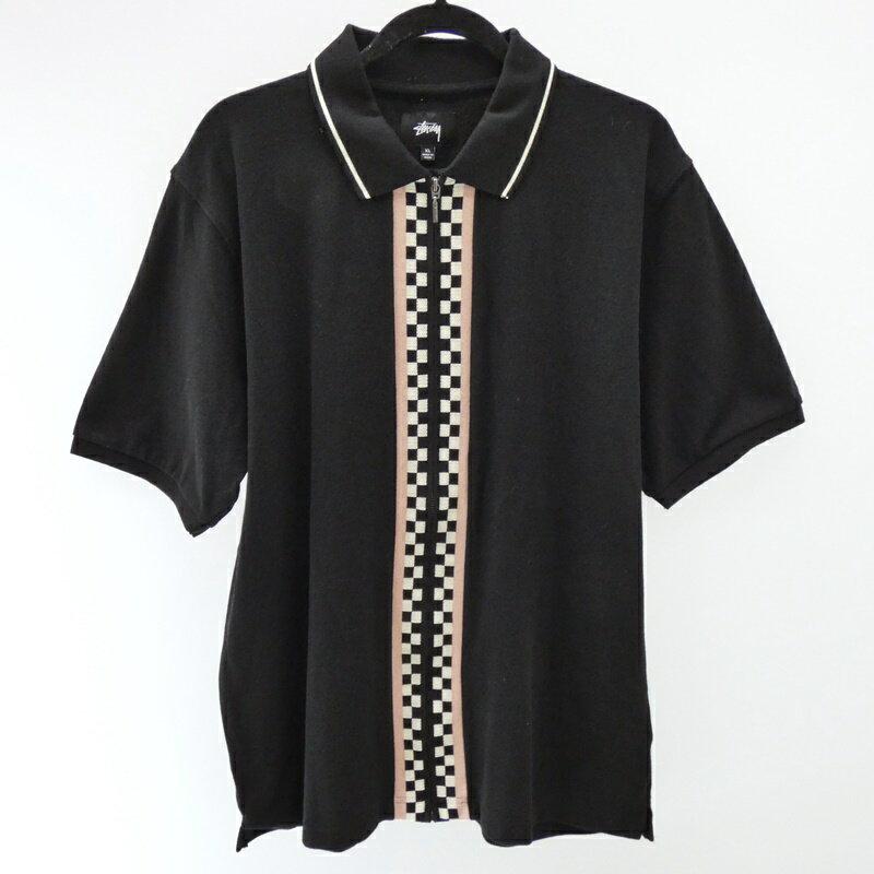 【中古】STUSSY|ステューシー Julian Full Zip Polo 2018S/S ジップアップ フルジップ ポロシャツ   サイズ:XL カラー:ブラック / ストリート【f103】