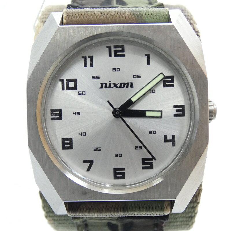 【中古】NIXON/ニクソン 腕時計 クォーツ ナイロンベルト サイズ:- カラー:シルバー(文字盤)×グリーン系カモ柄(ベルト)【f131】