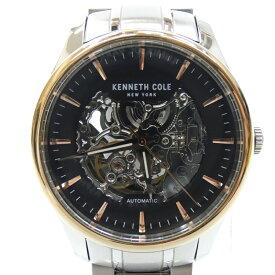 【中古】KENNETH COLE/ケネスコール 腕時計 自動巻き ステンレススティールベルト サイズ:- カラー:ブラック(文字盤)×シルバー(ベルト)【f131】