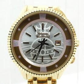 【中古】VivienneWestwood/ヴィヴィアンウエストウッド 腕時計/クォーツ/ステンレススティールベルト/VW-7796 サイズ:- カラー:ホワイト(文字盤)×ゴールド(ベルト)【f131】