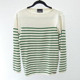 【中古】Le minor/ルミノア ニット/wool rayure mariniere サイズ:1 カラー:ホワイト×グリーン / インポート【f102】