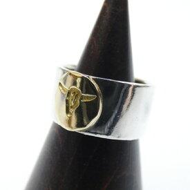 【中古】TADY&KING/タディアンドキング 平打ちリングGD ロングホーン K18 シルバーリング 指輪 【f134】