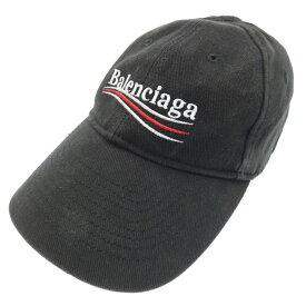 【中古】BALENCIAGA/バレンシアガ ポリティカルロゴ キャップ サイズ:L カラー:ブラック【f135】
