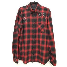 【中古】DIESEL/ディーゼル チェック スタッズ ネル・ウールシャツ サイズ:XL カラー:レッド / インポート【f102】