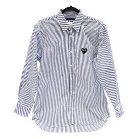【中古】PLAY COMME des GARCONS/プレイコムデギャルソン AZ-B008 AD2018/6 長袖ストラップシャツ サイズ:M カラー:ブルー×ホワイト【f108】