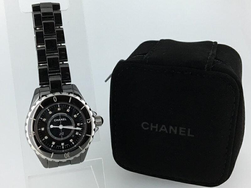 【中古】CHANEL/シャネル J12(ジェイトゥエルヴ) H1625 12Pダイヤクォーツ腕時計 セラミック ブラック