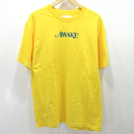 【中古】AWAKE/アウェイク ロゴプリント 半袖Tシャツ サイズ:L カラー:イエロー / ストリート【f103】