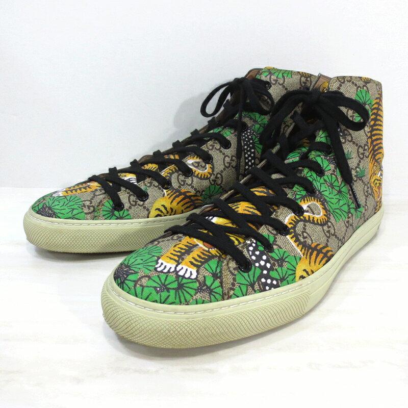 【中古】GUCCI|グッチ 【17SS】451212 K6D30 8683 GG Supreme Bengal Hi-Top Sneakers GGスプリームキャンバス ベンガル ハイトップ スニーカー / ハイカット サイズ:11 カラー:ベージュ系等【f135】