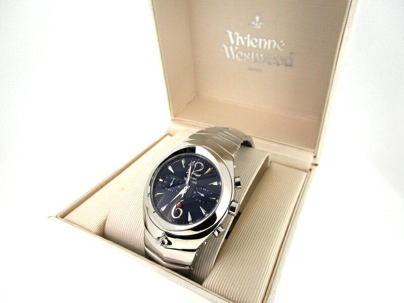 【中古】Vivienne Westwood MAN/ヴィヴィアン ウエストウッド アーマークロノグラフ 腕時計 VW-2048 ブルー×シルバー クォーツ ステンレススティールベルト