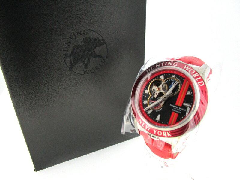 【中古】HUNTING WORLD/ハンティングワールド ADDITIONAL TIME 腕時計 HW993 ブラック×レッド 自動巻き(オートマチック) 革(レザー)ベルト