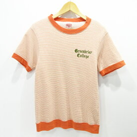 【中古】REAL McCOYS|リアルマッコイズ ボーダー Tシャツ 半袖 サイズ:S カラー:オレンジ / アメカジ【f101】