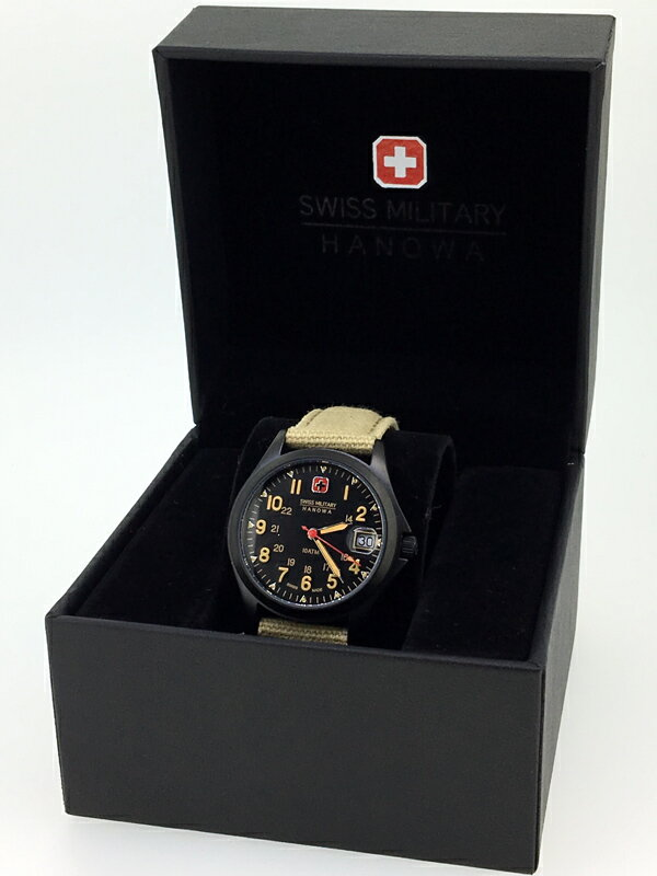 【中古】SWISS MILITARY HANOWA/スイスミリタリー CLASSIC/クラシック 腕時計 ML388ブラック×カーキ系 クォーツ