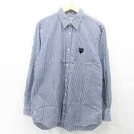 【中古】PLAY COMME des GARCONS プレイコムデギャルソン ストライプシャツ 長袖 AZ-B008 サイズ:L カラー:ブルー系【f108】