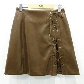 【中古】snidel スナイデル フェイクレザーレースアップスカート SWFS184144 サイズ:0 カラー:ブラウン【f112】
