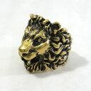 【中古】GUCCI|グッチ 398601 ライオンヘッド付き メタル リング ゴールド系 サイズ:#19 (グッチリングサイズ)【f13…