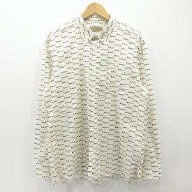 【中古】BURBERRY|バーバリー 総柄 ロゴプリントシャツ 長袖 ホワイト サイズ:XXL / インポート【f102】