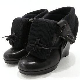 【中古】BURBERRY BLUE LABEL|バーバリーブルーレーベル ブーツ ブラック サイズ:5【f128】