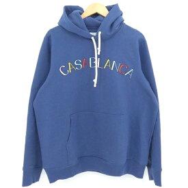 【中古】Casablanca|カサブランカ logo embroidery hoodie プルオーバーパーカー ブルー系 サイズ:XL【f108】