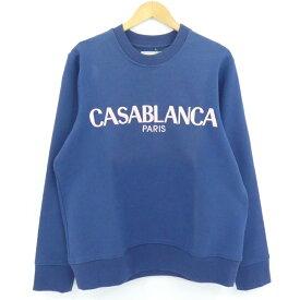 【中古】Casablanca|カサブランカ CASA BLOCK EMBROIDERY SWEATSHIRT スウェット ブルー系 サイズ:L【f108】