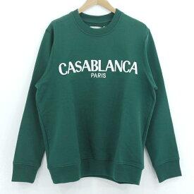 【中古】Casablanca Tennis Club|カサブランカテニスクラブ CASA BLOCK EMBROIDERY SWEATSHIRT ロゴスウェット グリーン サイズ:L【f108】