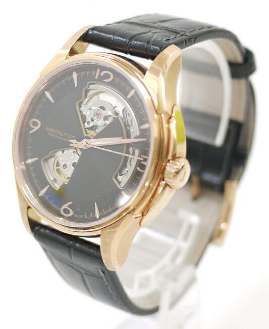 【中古】HAMILTON/ハミルトン 腕時計 ジャズマスター オープンハート JAZZMASTER H32575735 ブラック×ブラック 自動巻き(オートマチック) 革(レザー)ベルト