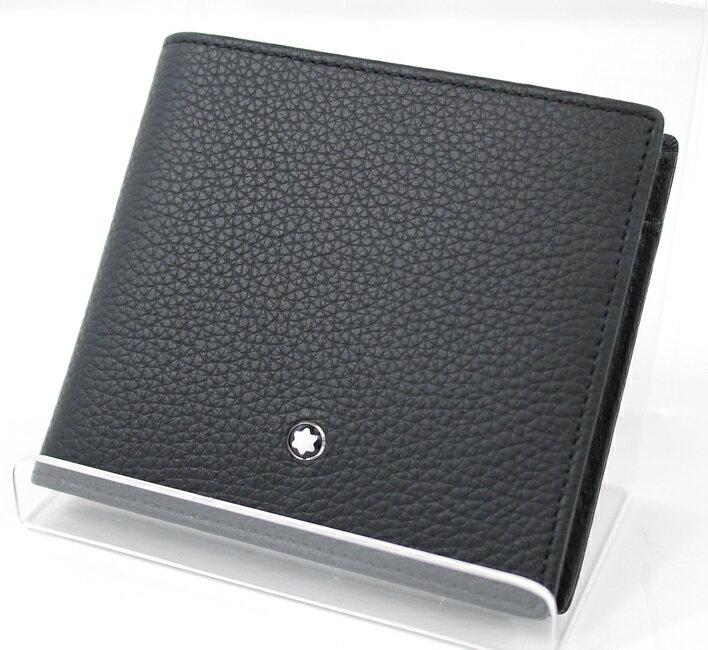 【中古】MONTBLANC/モンブラン MEISTERSTUCK SOFT GRAIN Wallet 4cc/マイスターシュテュック ソフトグレイン ウォレット/二つ折り財布 カラー:ブラック