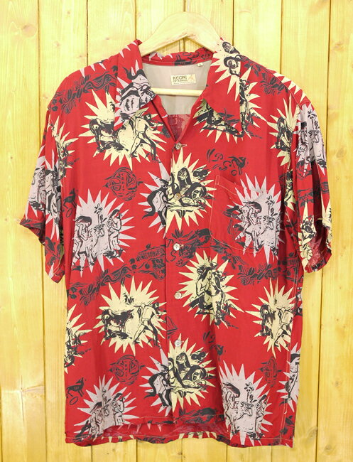 【中古】SUN SURF/サンサーフ KEONI OF HAWAII/ケオニオブハワイ アロハシャツ サイズ:L カラー:レッド系【f101】