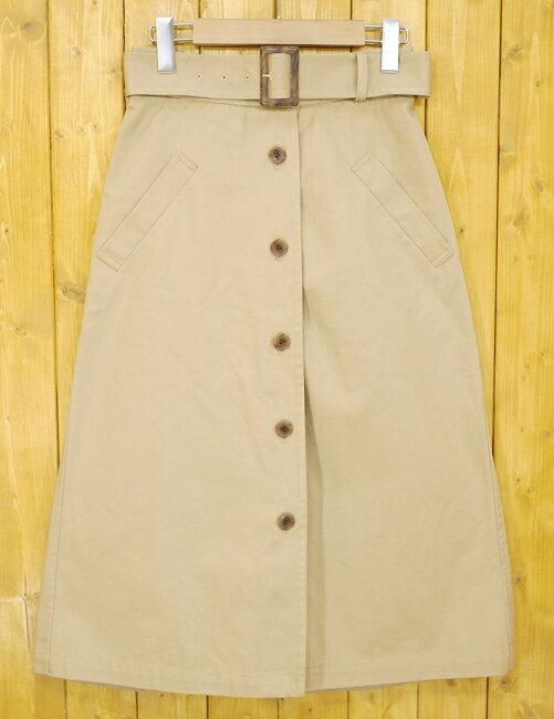 【中古】SHIPS/シップス チノクロスミドルスカート トレンチスカート サイズ:36 カラー:ベージュ【f110】