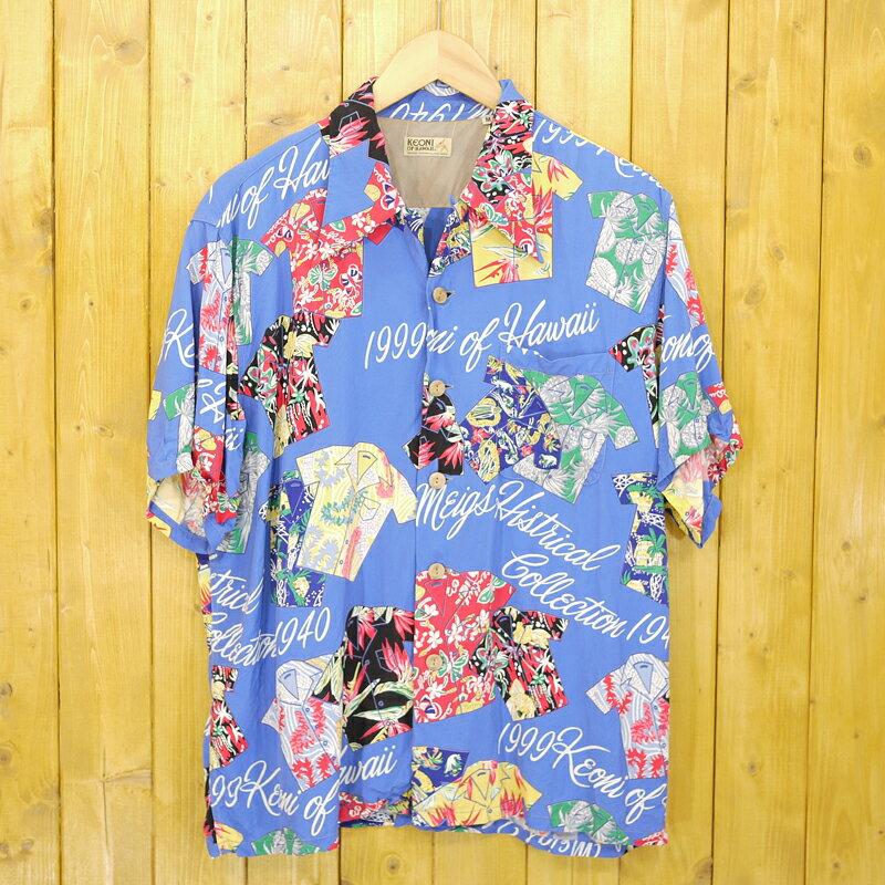 【中古】SUN SURF/サンサーフ KEONI OF HAWAII/ケオニオブハワイ アロハシャツ サイズ:M カラー:ブルーなど【f101】