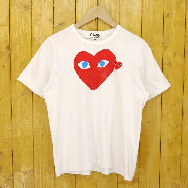 【中古】PLAY COMME des GARCONS/プレイコムデギャルソン DOUBLE HEART LOGO T-SHIRT 青目PLAY赤ハート刺繍 半袖ロゴTシャツ サイズ:M カラー:ホワイト【f112】