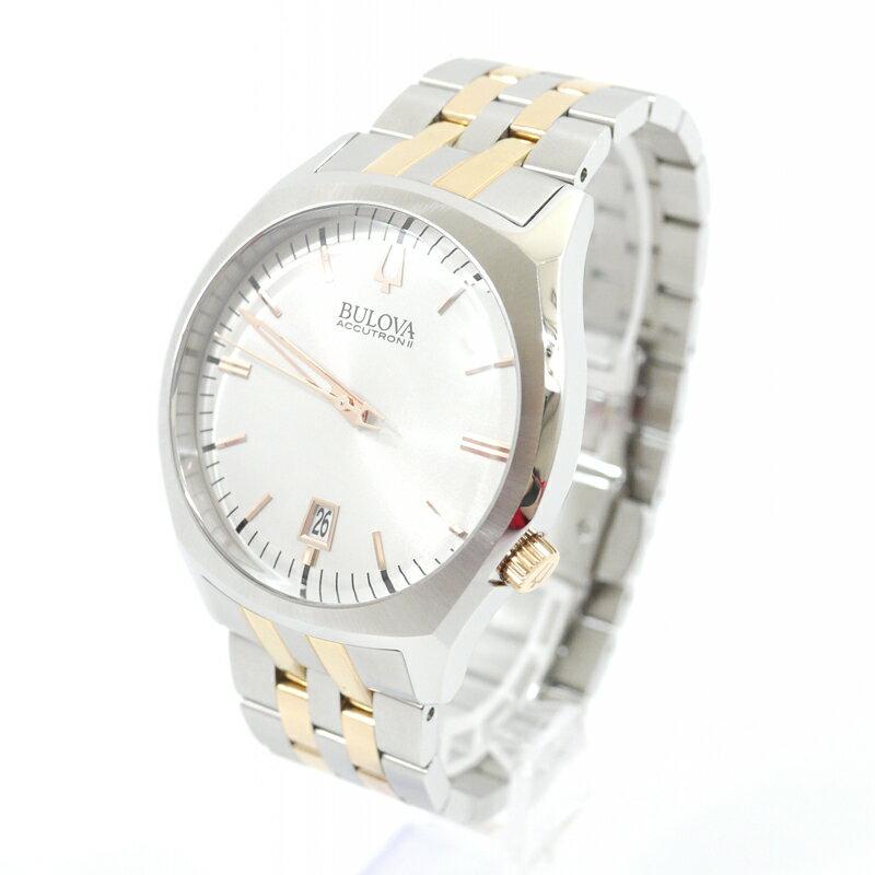 【中古】BULOVA/ブローバ 腕時計 ACCUTRON II SURVEYOR アキュトロン2 サーベイヤー 98B220 クォーツ ステンレススティールベルト カラー:シルバー【f131】