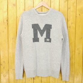 【中古】M/エム 2016AW original jacquard college logo knit pullover ダブルジャガード カレッジロゴニット セーター サイズ:M カラー:グレー【f104】