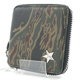 6b1c1ddc184d6 中古  中古 Schott ショット ONE STAR STUDS ZIP SHORT WALLET ワンスター ジップショートウォレット  カモフラ柄二つ折り財布 カラー:迷彩 f124