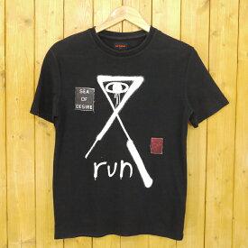 """【中古】RAF SIMONS 1995/ラフシモンズ1995 2012AW """"RUN"""" T-SHIRT SEA OF DESIRE 半袖Tシャツ サイズ:XS カラー:ブラック【f108】"""