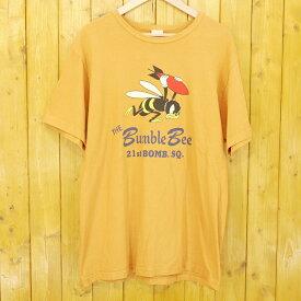 """【中古】Buzz Rickson's/バズリクソンズ """"THE BUMBLE BEE"""" 21st BOMB. SQ.  半袖Tシャツ サイズ:XL カラー:オレンジ【f101】"""