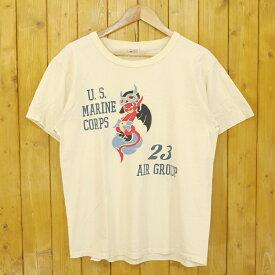 【中古】BUZZ RICKSON'S/バズリクソンズ MARINE AIR GROUP 23 半袖Tシャツ サイズ:L カラー:イエロー (クリーム)【f101】