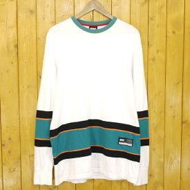 【中古】FTC/エフティーシー BLANK HOCKEY JERSEY 長袖Tシャツ サイズ:L カラー:ホワイト【f103】