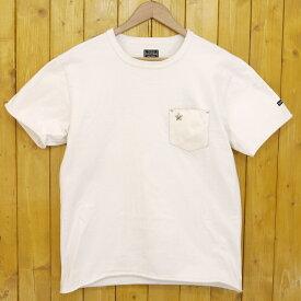 【中古】SCHOTT/ショット レザー ポケット Tシャツ DEER LEATHER POCKET ONE STAR RIVET S/S T-SHIRT サイズ:L カラー:ホワイト【f101】