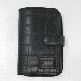 【中古】HEAD PORTER/ヘッド・ポーター CROCO WALLET/クロコ ウォレット 二つ折り財布 サイズ:- カラー:ブラック【f124】