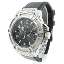 【中古】GUESS/ゲス 腕時計 RIGOR リガー W0247G4 クォーツ ラバーベルト カラー:ブラック×シルバー【f131】