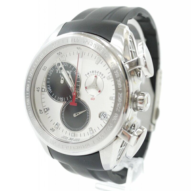 【中古】TISSOT/ティソ 腕時計 T-Sport Racing Chronograph Tレース クロノグラフ T0186171703100 クォーツ ラバーベルト カラー:ホワイト系×ブラック【f131】