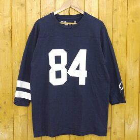 【中古】DENIM BY VANQUISH & FRAGMENT/デニムバイヴァンキッシュアンドフラグメント Football Tee フットボールTシャツ サイズ:L カラー:ネイビー【f103】