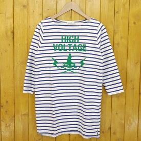 【中古】HYSTERIC GLAMOUR/ヒステリックグラマー HIGH VOLTAGE チェーン刺繍 ボーダーTシャツワンピース サイズ:FREE カラー:ホワイト×ネイビー【f111】