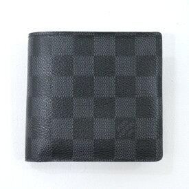 【中古】LOUIS VUITTON/ルイ・ヴィトン ポルトフォイユ・マルコ 二つ折り財布 サイズ:- カラー:ブラック×グレー【f125】