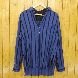 【中古】DIET BUTCHER SLIM SKIN/ダイエットブッチャースリムスキン 2019S/S Stripe Light Shirts ストライプシャツ サイズ:2 カラー:ブルー×ブラック【f104】