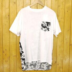 【中古】uniform experiment/ユニフォームエクスペリメント BACK PANEL LONG POCKET TEE 半袖Tシャツ ハイビスカス サイズ:4 カラー:ホワイト・ブラック【f103】