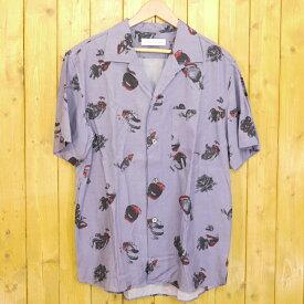 【中古】DIET BUTCHER SLIM SKIN/ダイエットブッチャースリムスキン eat fruit half sleeve shirt オープンカラーシャツ サイズ:2 カラー:ラベンダー【f104】